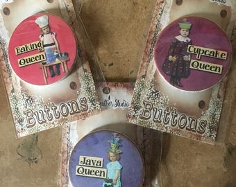 QUEEN BEE Buttons•Gift Buttons•Best Friend Gift•Gag Gift