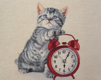 Coupon fabric Panel tapestry kitten Red alarm clock