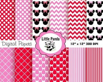70% OFF SALE Minnie Mouse Digital Paper Pack, Scrapbook Papers, 12 jpg files 12 x 12 - Instant Download - D198