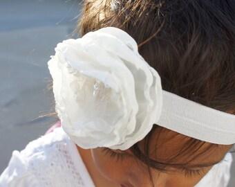 Cream Fabric Flower Headband with Lace and Sequins, Baby headband, Baby Girl Headband, Newborn Headband, Infant Headband.