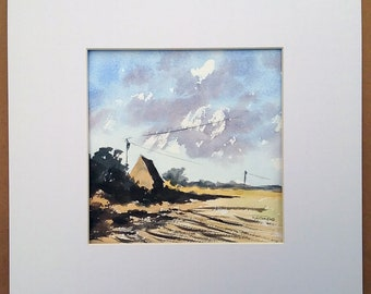 Field Corner House Norfolk Original  Landscape Watercolour Painting