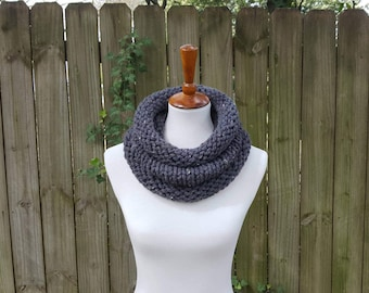 Knit Infinity Scarf, Chunky Knit Scarf, Knit Cowl, Knit Snood, The Birch Cowl, Small - Graphite Tweed