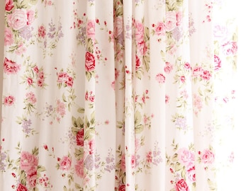 White Pink Cottage Shabby Chic Rose Cotton Curtain