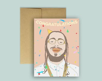 "Post Malone ""Congratulations"" Funny Congrats Card -- (Hip Hop Card, Engagement Card, Funny Greeting Card, A2 Blank Card, Congrats Card)"