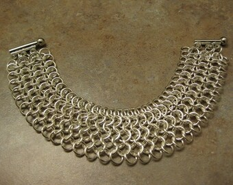 chainmaille bracelet, chainmaille jewelry, chainmaille, silver bracelet , european chainmaille, chain link jewelry