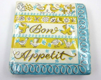 Vintage Bon Appetit Paper Party Beverage Napkins with Birds in Original Package Yellow Turquoise Blue White Brown Set of 25 Unused