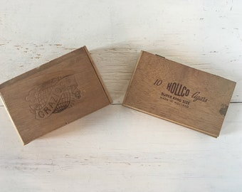 Set of Two Vintage Wooden Cigar Boxes - Grazioso, Hollco Cigars, Small Boxes