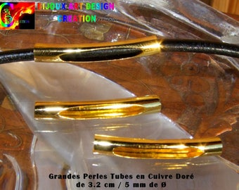 "20 beads Tubes Courbees 3.2 cm ""(1.26) long and 5 mm""(0.19) from ∅ in shiny golden copper"