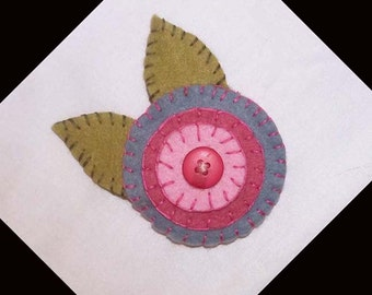 Handmade Penny Felt Brooch Pin in Pastel Shades of Blue, Pink, Rose and Herb Green