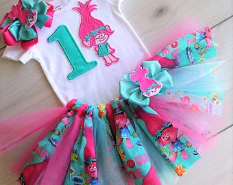 New Super Cute Poppy Troll Birthday Tutu Outfit/Free name monogram