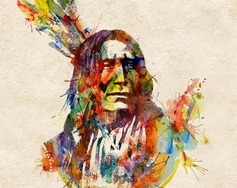 Indian chief Watercolor painting Wall art Aquarelle Feathers Printable art Affordable wall art Art gifts Indian decor Indian poster Colorful