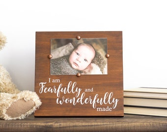 Fearfully Wonderfully Made– Religious New Baby Gift- Rustic Nursery Picture Frame– Scripture Baby Gift– Bible Verse Nursery Decor– Psalm 139