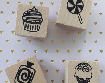 Candy And Sweets Wood Mounted Rubber Stamp Set Of 4 Stamping & Paper Craft Supplies