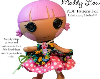 Pixie Faire Aha Customs Maddy Lou Dress Doll Clothes Pattern for Lalaloopsy Littles Dolls - PDF