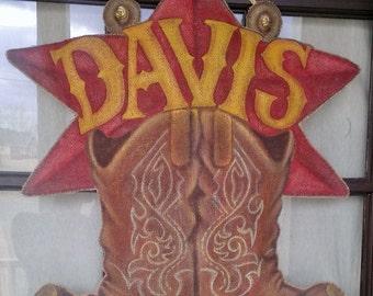 Western Style Cowboy Boot Burlap Door Hanger