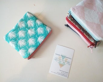Wallet / pouch printed cotton sky blue to electrify back burlap canvas