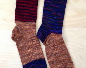 Granny's Cranky Knit Socks - Handmade Cozy - Purple Red and Blue and Brown - Womens XL or Mens Medium - WOOL/NYLON