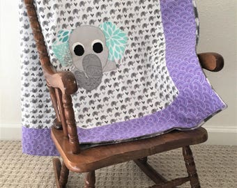 Small Gray and Purple Elephant Applique Blanket