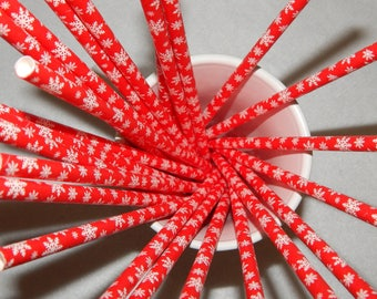 Red straw with White Snowflake