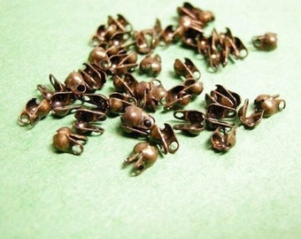 50pc antique copper 1 to 1.5mm ball chain connector-615