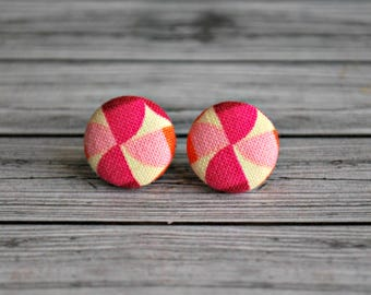 Fabric button earrings , fabric button studs , button earrings , fabric , button ,  pinwheels , ladies earrings , Australia