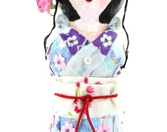 Asako-Japanese Kokeshi/paper mache sculpture/home decoration/photo holder/art doll/OOAK doll/peg doll/handmade/gift women
