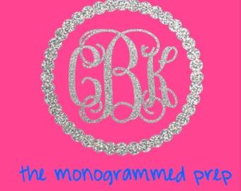 Monogram Sticker, Monogram Decal, Glitter Monogram,  Car Decal Sticker,  Gold Glitter Monogram, Silver Glitter Monogram, Monogram Car Decal