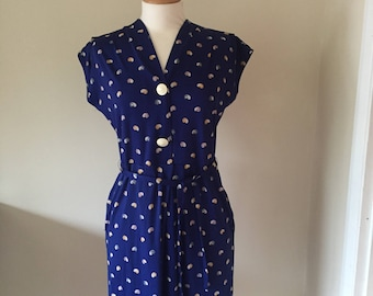 Vintage seashell print blue dress
