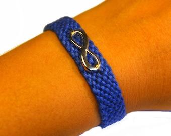 """Friendship bracelet, model """"Infinity"""", blue cuff"""