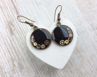 Steampunk Earrings. Watch Part Earrings. Steampunk Jewellery. Bronze Drop Earrings. Vintage Earrings. Black Earrings. Round Earrings. Unique