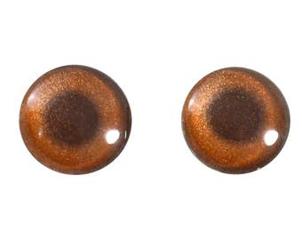 16mm Bronze Metallic Glass Eyes for Jewelry Pendants or Polymer Clay Art Doll Making or Taxidermy Sculptures and Crafting - Set of 2