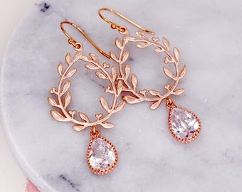 Laurel Wreath Earrings. Clear cubic zirconia Teardrop, Rose Gold Long Earrings. Wedding Bridal, Bridesmaid Gift, Christmas Wife E296