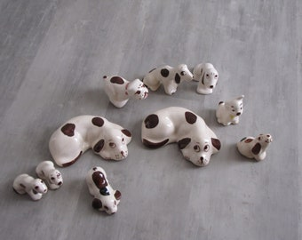 Vintage Brown Spotted Dog Hound Collection - set of 10