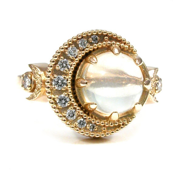 Full Moon Crescent Moon Moonstone and Diamond Ring - 18k Yellow Gold
