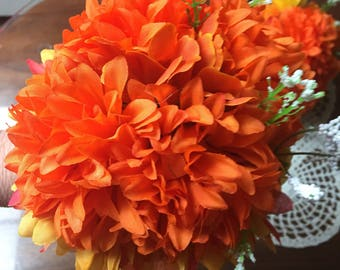 Brides maid bouquets orange and yellow 021    6 onches across  for the junior brides maid