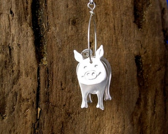 Pig Pendant, Pig Necklace, Pig jewelry, Silver, Handmade, 3D Piggy Jewellery,  Farmyard Animal Jewelry, 925 Silver, Pigs, Pig Gifts, Piggys.