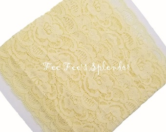 "Pale Yellow Lace Elastic 2""- Lace Elastic by the yard - Stretch Lace- Headband lace- Soft Lace"