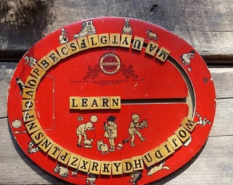 Cress Educational Board, 1920's Spelling Game, Nursery Decor