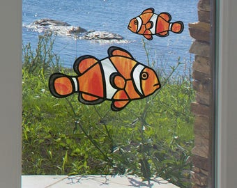 CLR:WND - Tropical Fish - Clownfish - Clown Fish - Stained Glass Style Vinyl Window Decal - © 2016 YYDCo. (Size Choices)