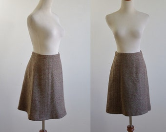Vintage A Line Skirt, 70s Skirt, Herringbone Skirt, Flared Skirt, 1970s Skirt, Preppy Skirt, Officewear, Mid Thigh Skirt, Waist 25 26 Small
