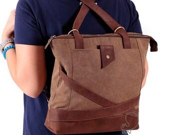 Canvas leather bag, women's bag, women's backpack, shoulder bag, canvas leather backpack, convertible bag, convertible messenger, messenger