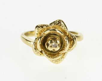 14K Diamond Inset Stylized Rose Flower 3D Floral Ring Size 3.5 Yellow Gold