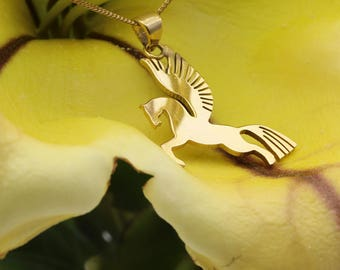 Hand-pierced and engraved 24k gold dip Pegasus, Bee, Swallow or Lotus pendants