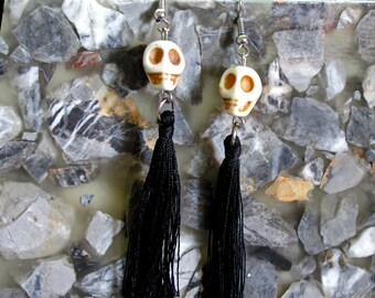 Howlite Carved Skull Beads with Dangling Black Silk Tassels ~ Halloween ~ Dia de los Muertos Earrings