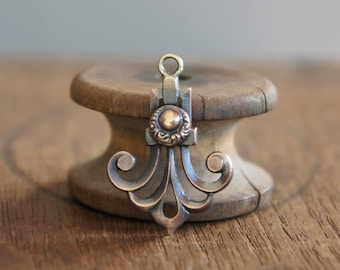 French Brass Stamping Stylised Fleur de Lys Pendant Handmade Supply