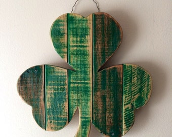 """2-3 WEEK WAIT // Rustic Shamrock 16""""- reclaimed wood - St. Patrick's Day decoration - Irish Pride, lucky clover, pallet wood ,wall hanging"""