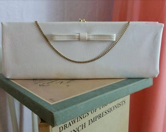 50's/60's Vintage White Patent Leather Flat Extra Wide Vintage Clutch Purse