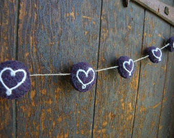 Purple Felted Wool Garland with White Needle Felted Hearts,  Hand Knit Boiled Wool Garland of Stuffed Circles, 5 Feet Long