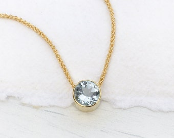 Aquamarine Necklace in 18k Gold, March Birthstone, Handmade in the UK