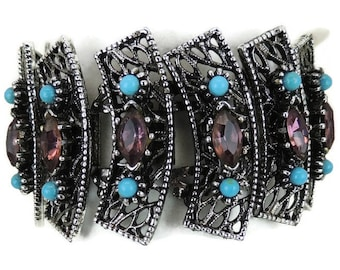 Vintage Purple and Turquoise Silver Tone Bracelet